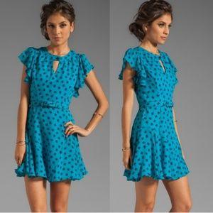 Milly clover print flutter silk Carlin dress